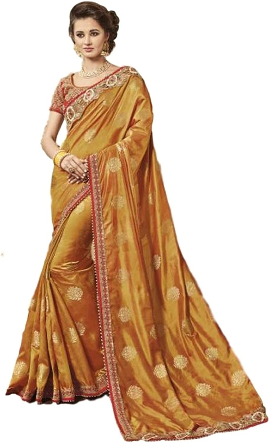 EthnicWear Brown Wedding Festival Wear Indian Silk Traditional Saree