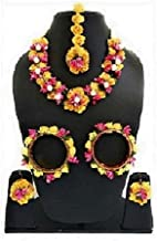 sarthak fashion jewellery Yellow Color Floral Gota Patti Mehandi Haldi Necklace, Earrings and Maang Tika for Women and Girls
