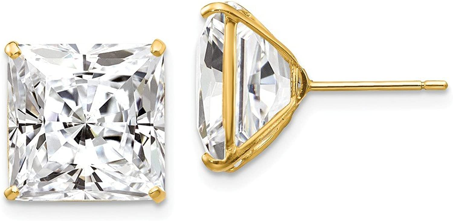 Beautiful Yellow gold 14K Yellowgold 14k 11mm Square CZ Post Earrings