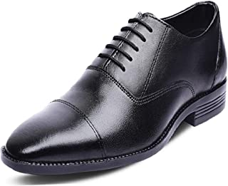 Kanprom Men's Black Genuine Leather Formal Oxford Cap Toe Lace-Up Shoes