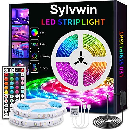 Sylvwin Tiras LED 10m,Tiras de Luces LED RGB con Control Remoto,Tira de LED SMD 5050 con Cambio de Color para Cocina Casera,Decoración de Dormitorio,Fiesta,Retroiluminación de TV