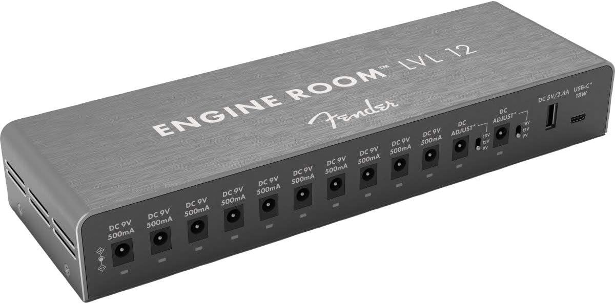Fender® ENGINE ROOM™ LVL12 POWER SUPPLY - Fuente de alimentación central para pedales de efectos (10 x 9 V/CC 500 mA/2 x 9 V/12 V/18 V con interruptor)