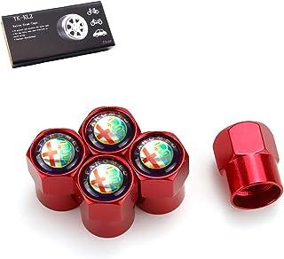 HAOT Tappi valvola,per Alfa Romeo 159 147156156166 166 Giulietta SpiGT Stelvio Giulia Mito Car Styling Ruota Pneumatici Parti Tappi coprivalvola Colore: Rosso