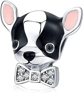 Abalorio de chihuahua con lazo de cristal de plata de ley 925 para pulseras y collares Pandora y otros