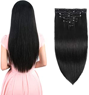 Real Clip in Hair Extensions Natural Black 8 Pieces - Premium Womens Straight Double Weft Thick Remy Hair Extensions Clip in on Human Hair for Long Hair (16