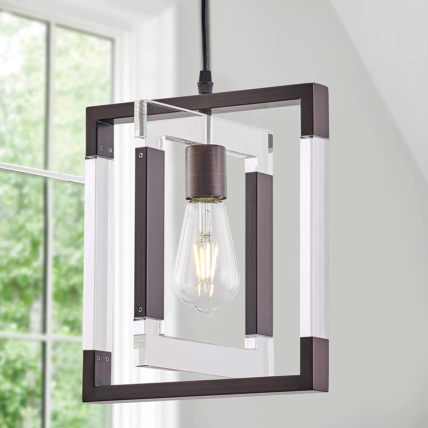1-Light Mini Pendant Outlet SALE Light Modern with Br Oil Chandelier Minneapolis Mall Rubbed