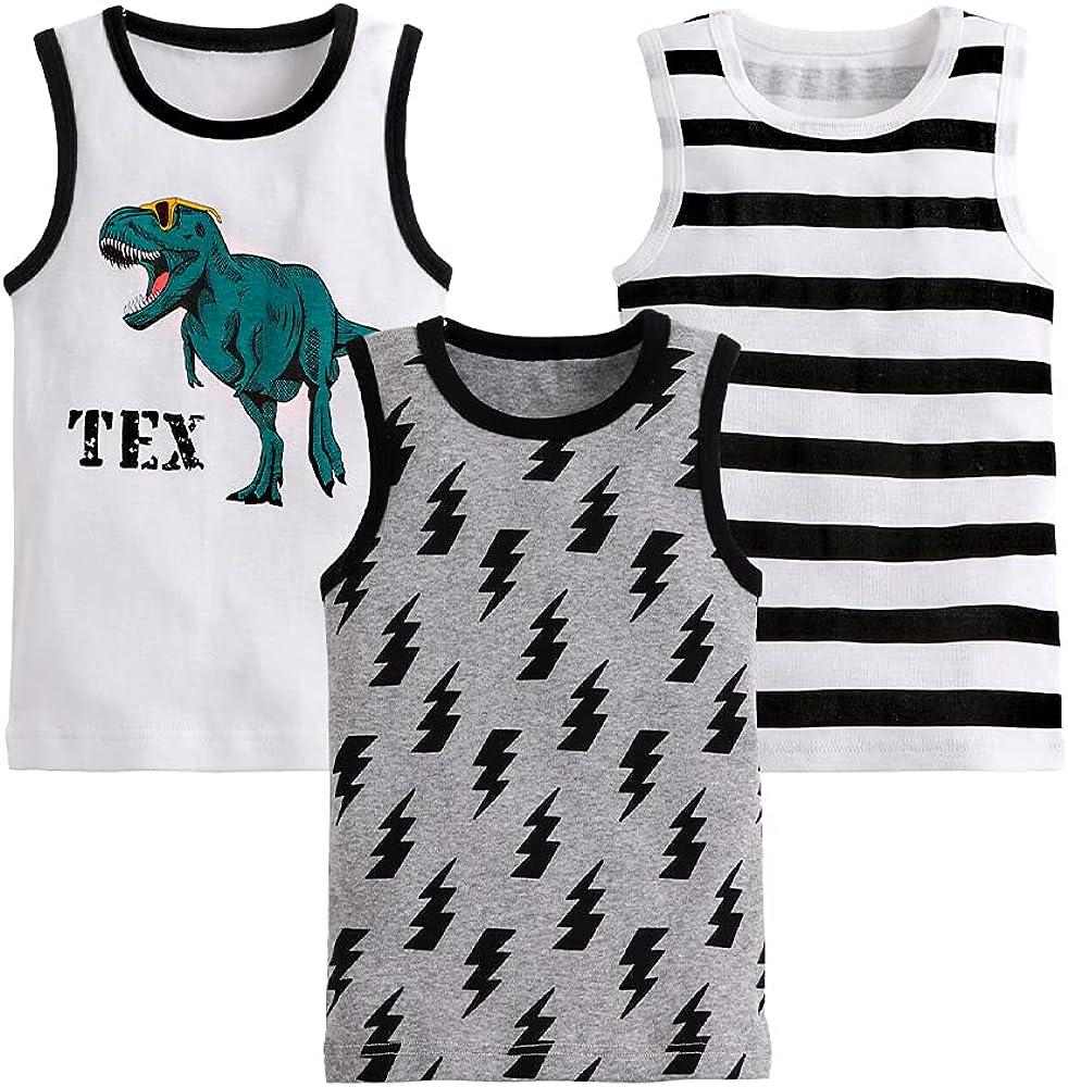 Azalquat Toddler Boys Tank Top 3 Pack Cotton Tanks Shirts Set
