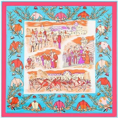 N/D 100% Soie sergé Marque Foulard en Soie pour Les Femmes, Nouvelle Mode Grand carré Foulards Bandeau Royal Ascot Olive Branche Impression châle 3