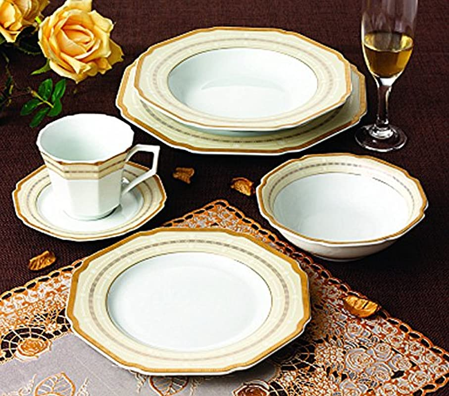 Euro Porcelain 57 Pc Banquet Dinnerware Set Luxury Bone China Tableware Service For 8