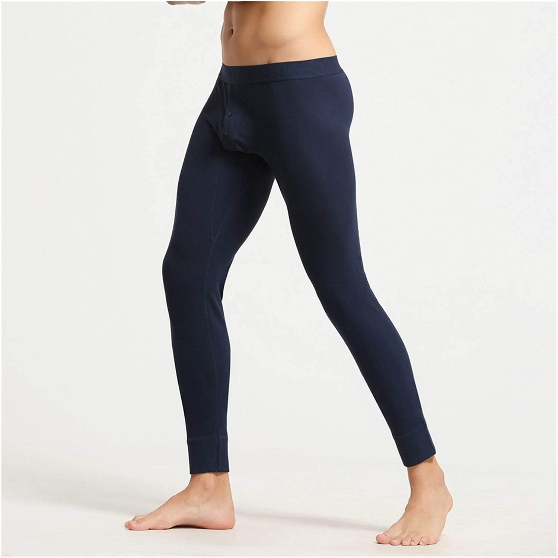 Jinqiuyuan Autumn and Winter Men's Sexy Cotton Long Johns Low Rise Thermal Underpants Leggings Long Pants (Color : Navy Blue, Size : Large)
