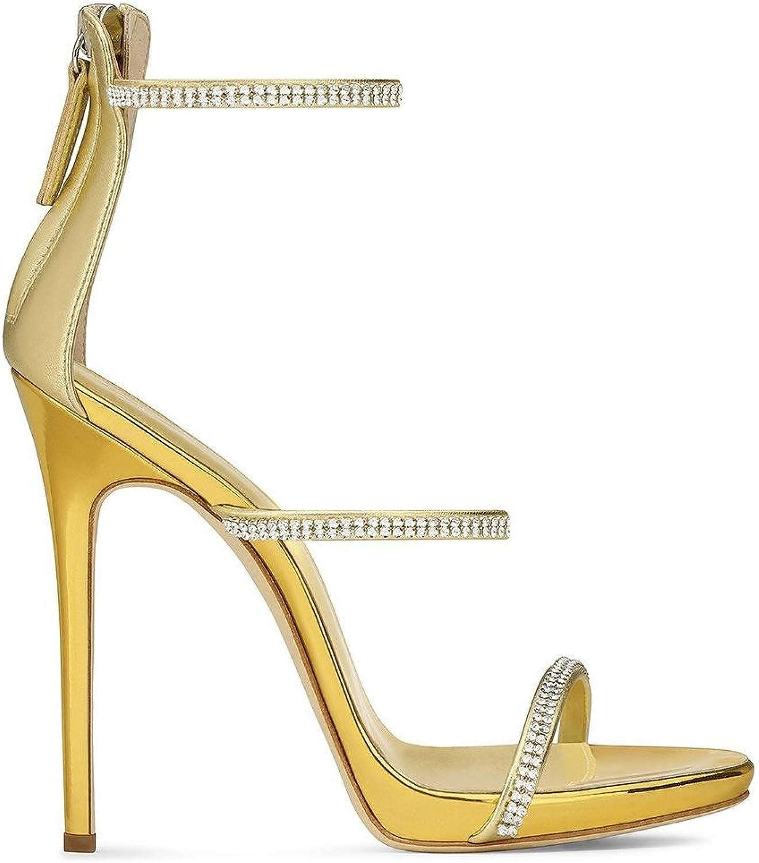 Damen Sexy Knchel Gurt Gucken Zehe Stilett Hoch Hacke Gold Sandalen Strass Schuhe Reiverschluss Party Kleid Nachtclub