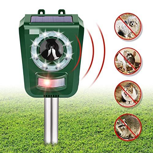 INTEY Repellente Gatti Ultrasuoni Solare, per Allontanare Cani, Gatti, Uccelli Frequenza Regolabile...