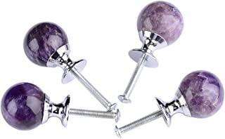 AMOYSTONE Amethyst Cabinet Knobs Unique Stone Drawer Knobs and Pull Handles Round Gifts Pack of 4