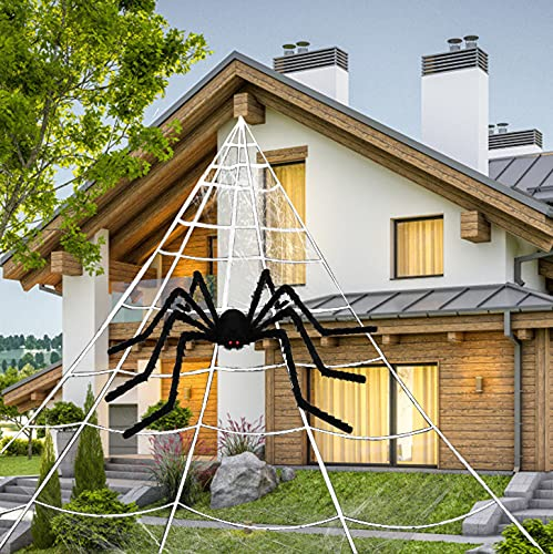 SIHUAN Halloween Giant Spider Web with Giant 35in Black Spider for Halloween Outdoor Yard Decoration (16.4×15.7ft)