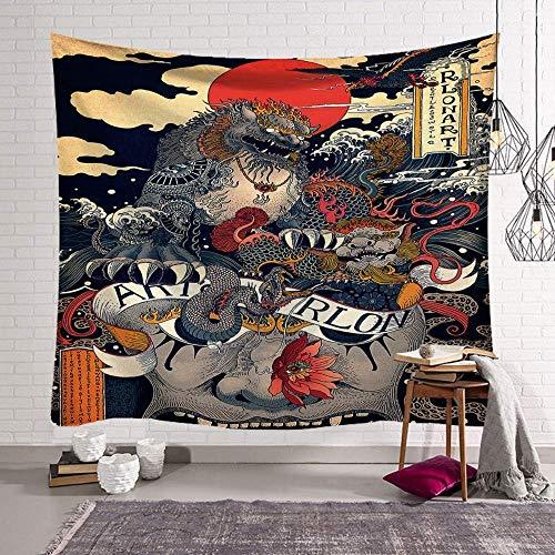 Muur woondecoratie kunst abstract olieverfschilderij tapijt deken Chinese Stijl Leeuw Draak Dier Psychedelische Hippie Grote Maat Boheemse Gedrukt