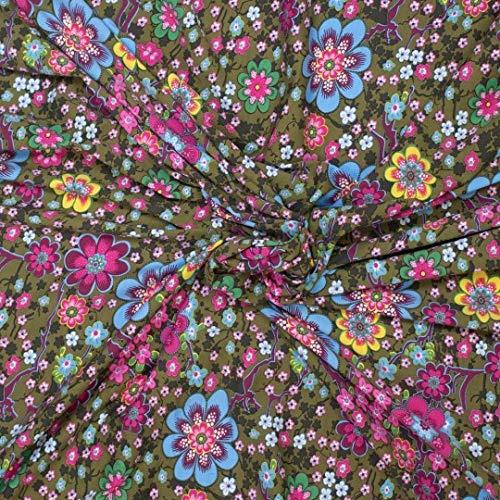 Jersey, Minimal Print, kleine Blumen auf Grün als Meterware zum Nähen, 50 cm