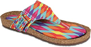 Colour Me Mad Blue & Oranges, Natural Cork, Washable, All Weather, Vegan, Made in India, PETA Certified, Women Sandals