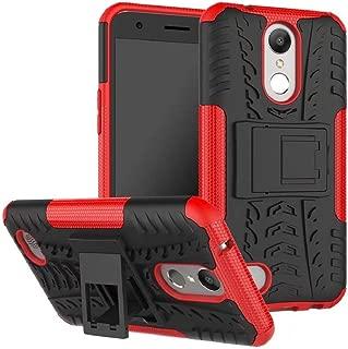 LG Q7 - Q7 Plus Kılıf Sert Silikon Standlı Anti Shock Full Koruma Kırmızı
