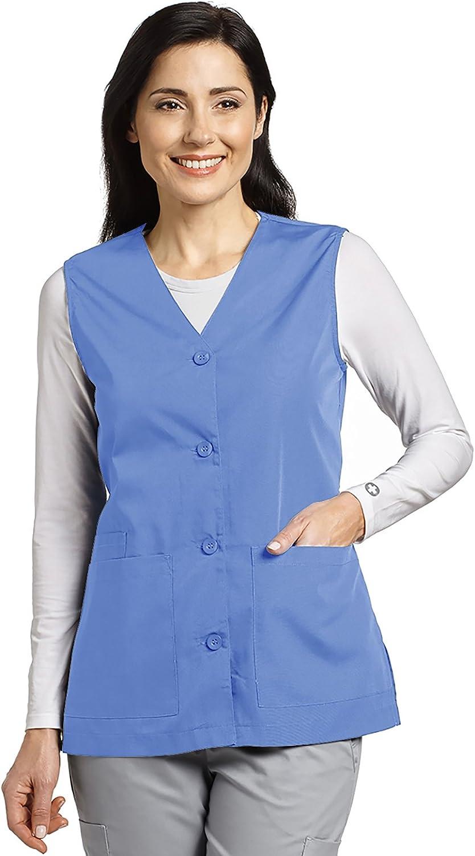 White Cross Women's Button Front Solid Scrub Vest Medium Ciel bluee