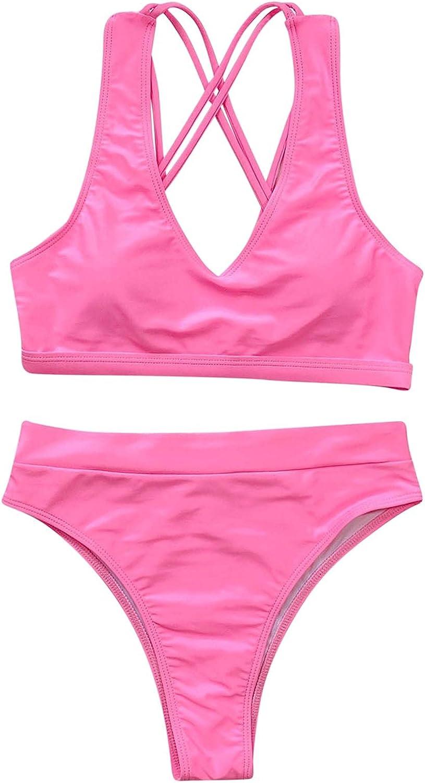 Women's Bikini Two Piece Block Wrap Beachwear Two Piece High Waist Tankini Swimsuit