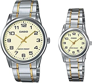 Casio His & Hers Beige Dial Stainless Steel Band Couple Watch - Mtp/Ltp-V001Sg-9Budf, Silver Band, Analog Display