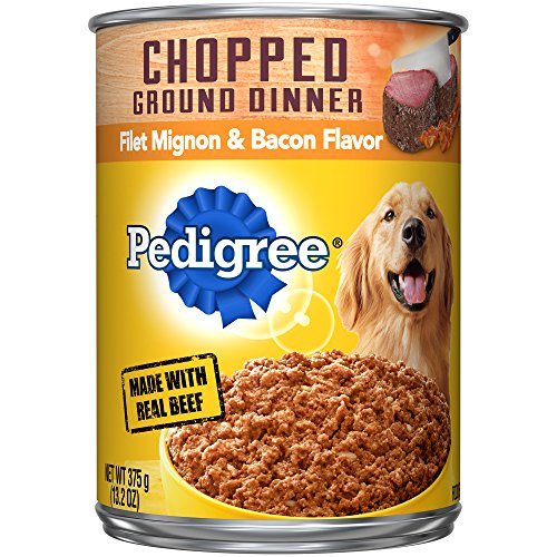 PEDIGREE Adult Canned Wet Dog Food Chopped Ground Dinner Filet Mignon & Bacon Flavor, (12) 13.2 oz. Cans