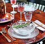 Servizio piatti per 6 persone,18 pezzi in vetro trasparente a rilievo