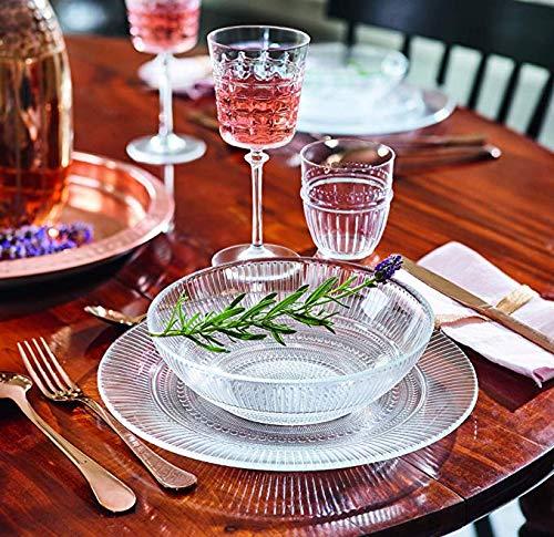 Servizio piatti per 12 persone,36 pezzi in vetro trasparente a rilievo