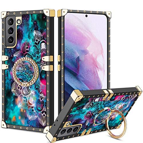 Vunake Samsung Galaxy S21 6.2 Hülle,Glitzer Hülle Cover & 360 Grad Ring Stand Handyhülle Schutzhülle Fingergriff Kompatibel mit Magnetische Autohalterung Stoßfest für Samsung Galaxy S21 6.2