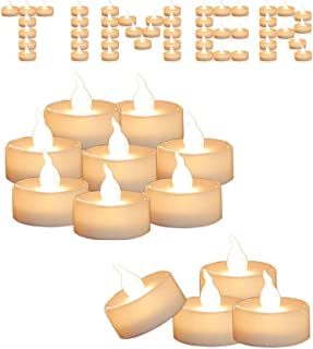 Cozeyat 12pcs Led Tea Lights with Timer Function(6Hrs On 18Hrs Off) Christmas Mini..