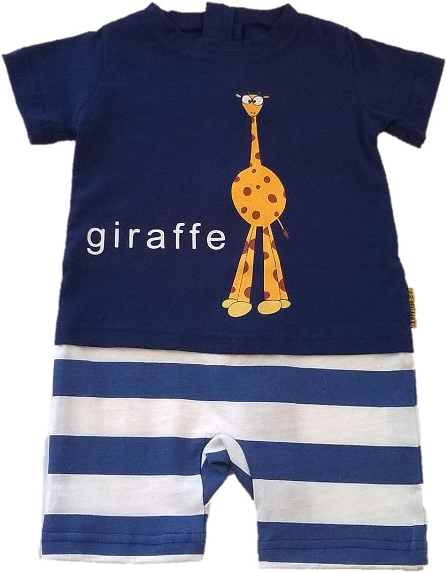 Spasm price Strip Free One-Piece Giraffe Romper with a Blue Ranking TOP4 Zipper in Back W
