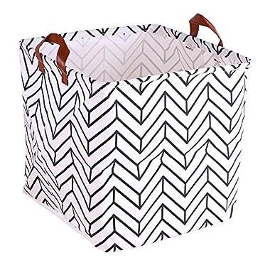 Storage Cube Basket Bin for Bedroom Bathroom Kids Cotton Linen White and Stripe 12.5 x12.5 x12.5