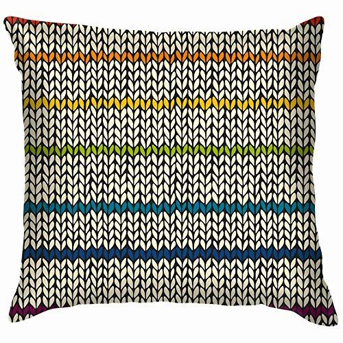NZ Rainbow Knitted Stripes Plaid Holidays Throw Pillow Covers Accent Home Sofá Funda de cojín Funda de Almohada Regalo Decorativo 20X20 Pulgadas