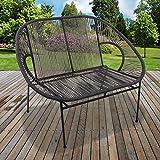 Marko Outdoor String Rattan 2 Seater Bench Sofa Moon Love Seat Indoor Outdoor Steel Frame Legs