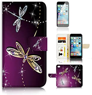 ( For iPhone 7 ) Flip Wallet Case Cover and Screen Protector Bundle A20232 Dragonfly Beautiful