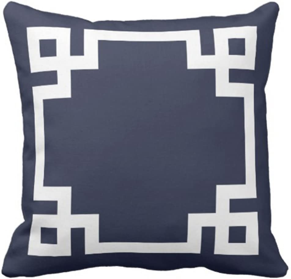Emvency Throw Pillow Cover Cute Preppy Navy Blue and White Greek Key Girly Decorative Pillow Case Home Decor Square 18 x 18 Inch Pillowcase