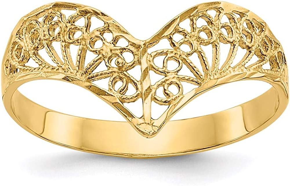 14k Yellow Gold Filigree Band Ring Size 7.00 Fine Jewelry For Women Gifts For Her