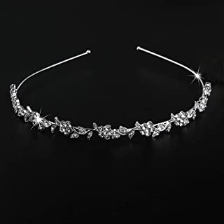 ULTNICE Wedding Women's Crystal Bridal Flower and Leaves Crown Headband Tiara Headdress