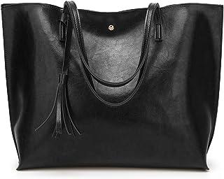 e2e09d2cd Women's Soft Leather Tote Shoulder Bag from Dreubea, Big Capacity Tassel  Handbag