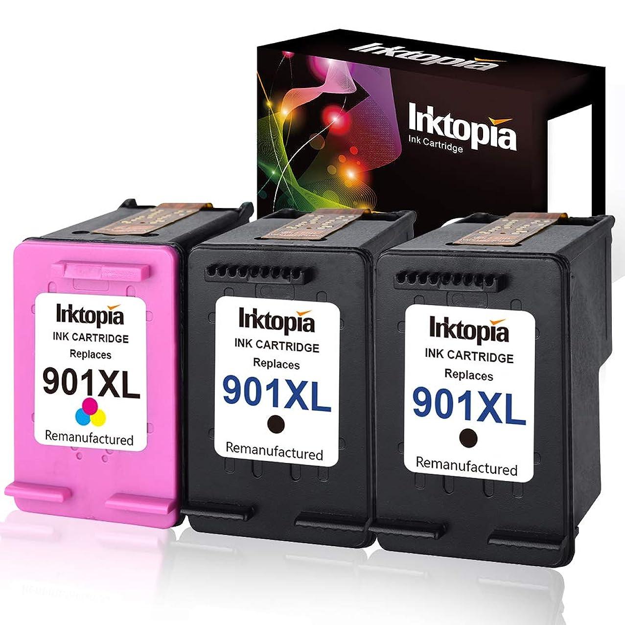 Inktopia Remanufactured Ink Cartridges for Hp 901XL 901 XL (2 Black, 1 Color) Use with HP Officejet 4500 J4500 J4524 J4540 J4550 J4580 J4624 J4640 J4660 J4680 J4680C Printer Ink Level Display