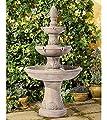 "John Timberland Domanico Outdoor Floor Water Fountain 57"" Tan 3-Tiered Floor Cascading for Yard Garden Lawn"