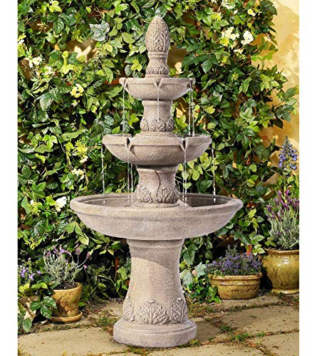 John Timberland Domanico Outdoor Floor Water Fountain 57' Tan 3-Tiered Floor Cascading for Yard Garden Lawn
