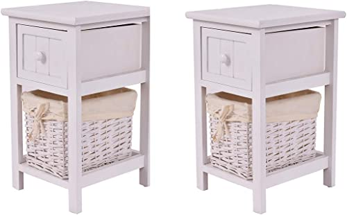 popular Giantex Nightstand with online Drawer and Layer, Wicker Basket Wooden Mini lowest Organizer for Bedroom Bedside Sofa End Table (2, White) online