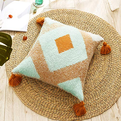 LKHTR Cushion Cover,Feather Tassels Plush Square Diamond Pillow Cover for Home Decoration Sofa Bed 45x45cm