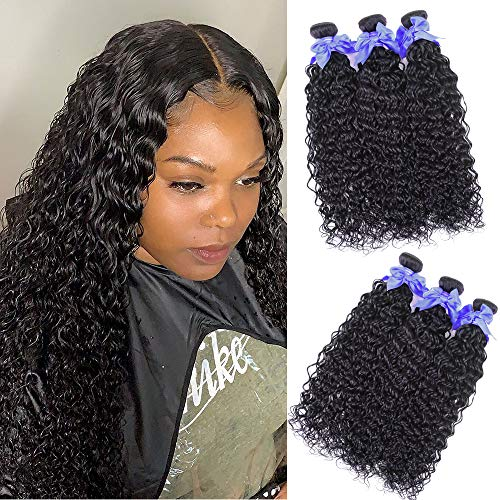 Water Wavy Human Hair 3 Bundles 12 14 16 Inch 100% Unprocessed Human Hair Extensions For Women 100g/bundles 8A Brazilian Wet And Wavy Water Curly Human Hair Bundles Natural Black Color Shuangya Hair