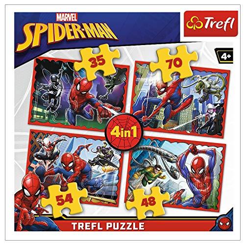 Trefl, 34293 Puzzle, Im Netz von Spiderman, von 35 bis 70 Teilen, 4 Sets, Disney Marvel, für Kinder ab 4 Jahren