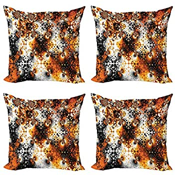 Ambesonne Burnt Orange Decorative Throw Pillow Case Pack of 4 Vintage Mosaic Pattern with Burnt Floral Curve Feature Abstract Graphic Cushion Cover for Couch Living Room Car 18  Black Orange Grey