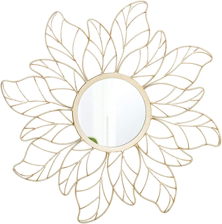 Beautiful Wall Mirror, Household Bathroom Mirror Bathroom Bathroom Mirror Living Room Wall Mirror Bedroom Dressing Mirror Creative Mirror (color   gold, Size   65  65cm)