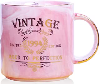 1994 25th Birthday Gifts for Women and Men Ceramic Mug - Funny Vintage 1994 Aged To Perfection - Anniversary Gift Idea for Him, Her, Mom, Dad Husband or Wife - Ceramic Marble Cups 13 oz (Pink)