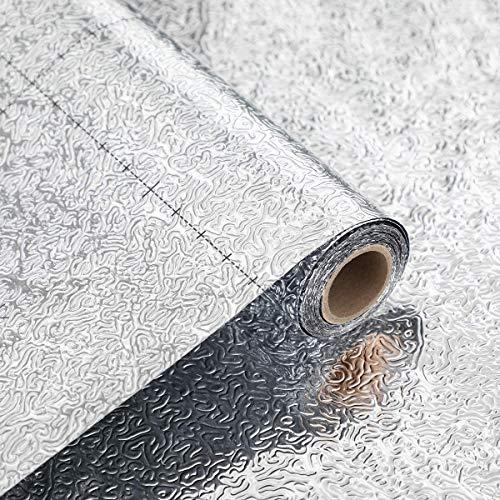 Coavas Papel de pared para cocina, a prueba de aceite, adhesivo de plata, autoadhesivo, con textura de cáscara de naranja, 40 x 300 cm